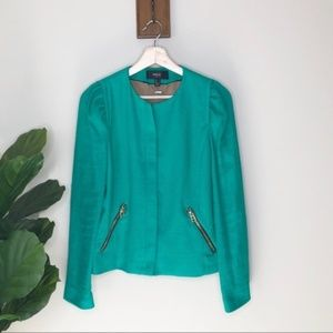 Mango green blazer zip jacket w/ Ruched shoulders